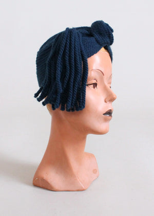 Vintage 1940s Blue Knit Tassel Turban Hat