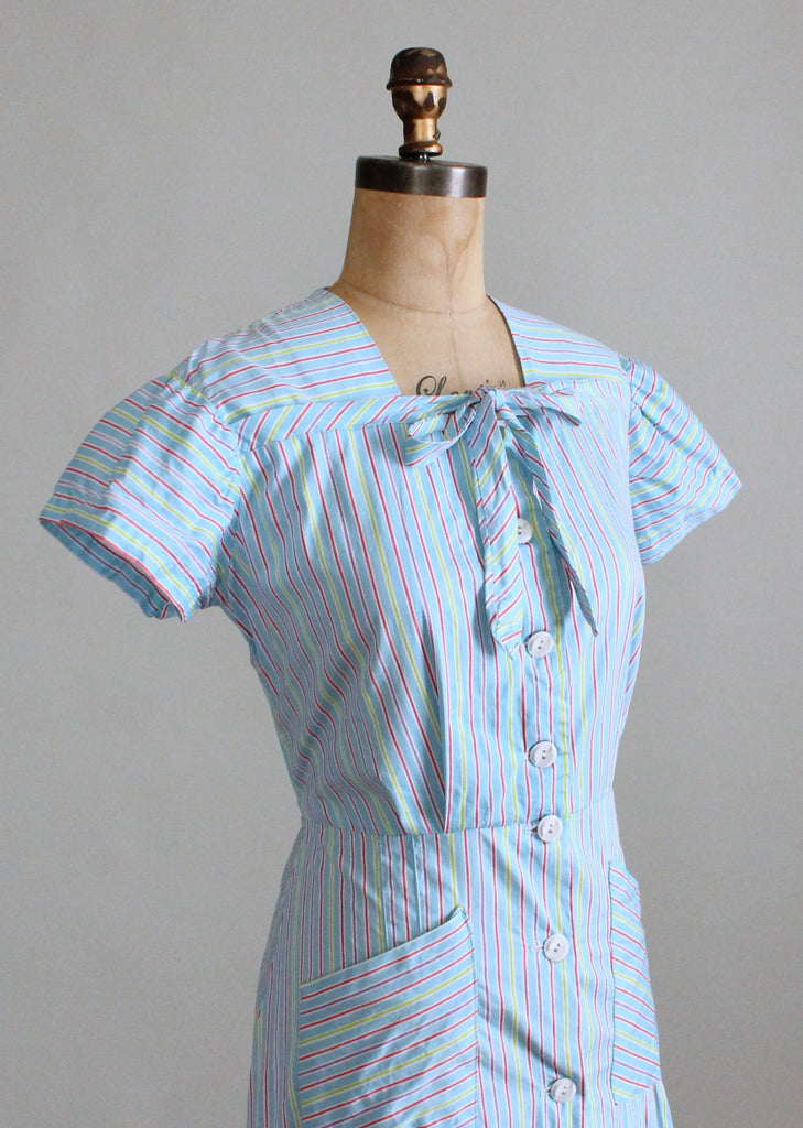 Vintage 1940s Blue Striped Summer Cotton Day Dress