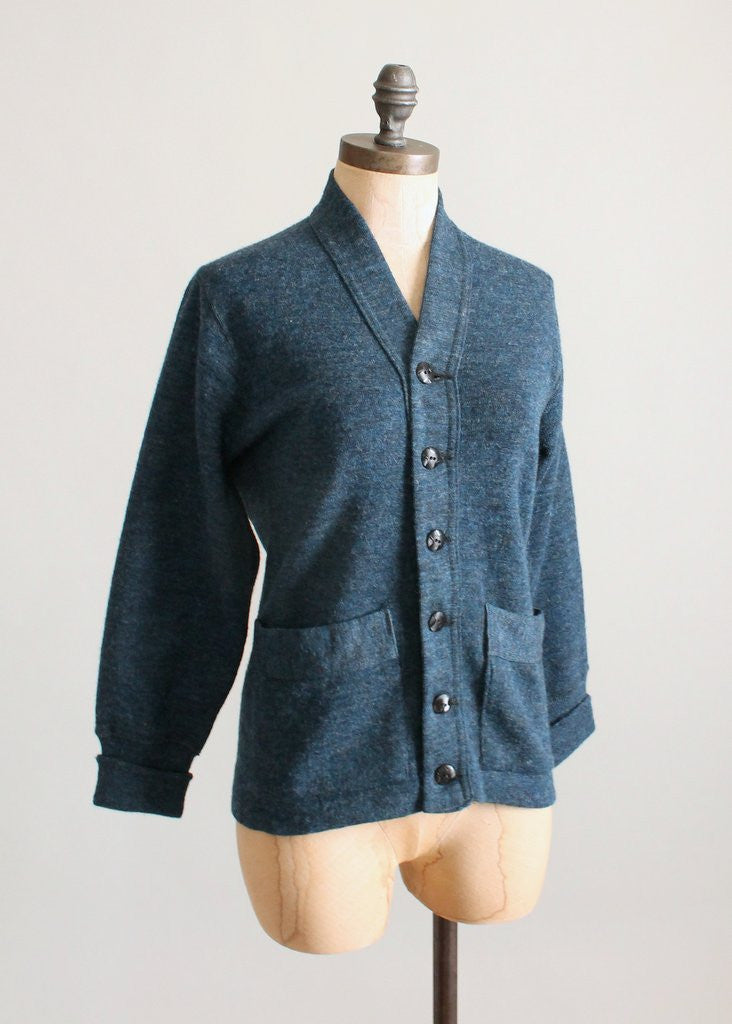 Vintage Late 1930s Prussian Blue Wool Cardigan