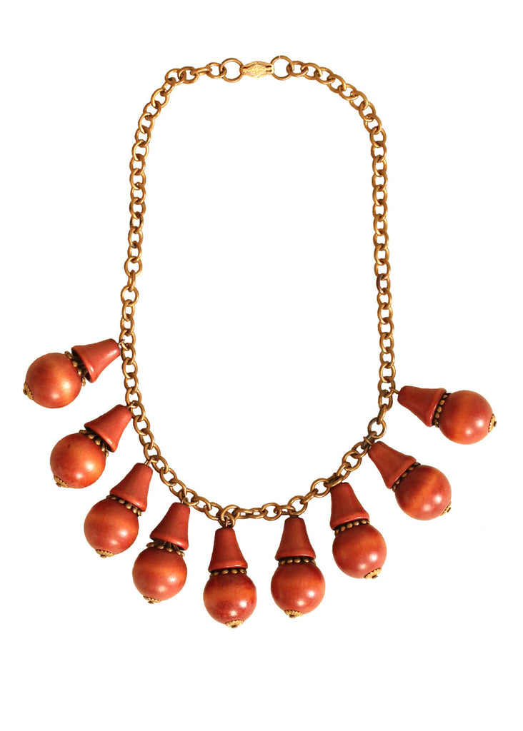 Vintage 1940s Brass and Wood Dangles Necklace