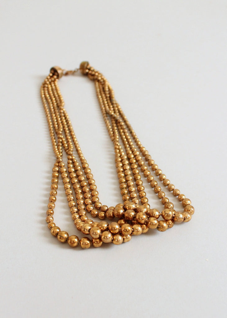 Vintage 1940s Brass Bead Multi Strand Necklace