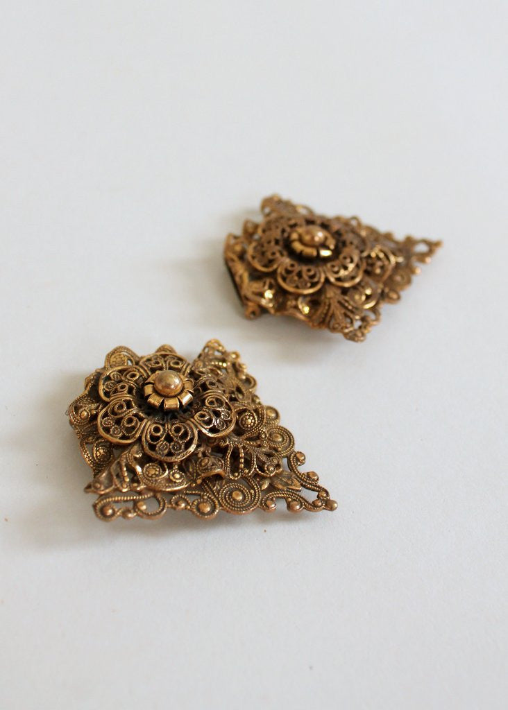 Vintage 1940s Brass Florentine Dress Clips