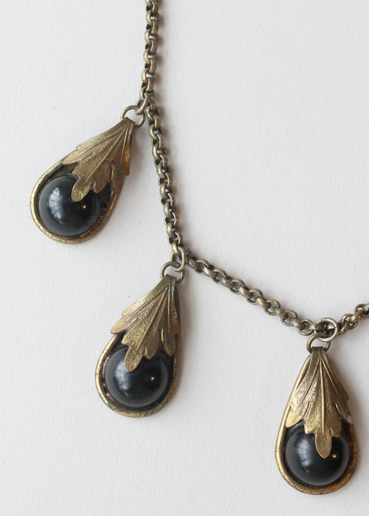 Vintage 1940s Brass and Black Glass Teardrop Necklace