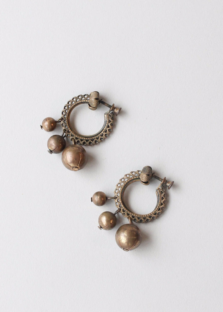 Vintage 1940s Brass Loops and Balls Earrings