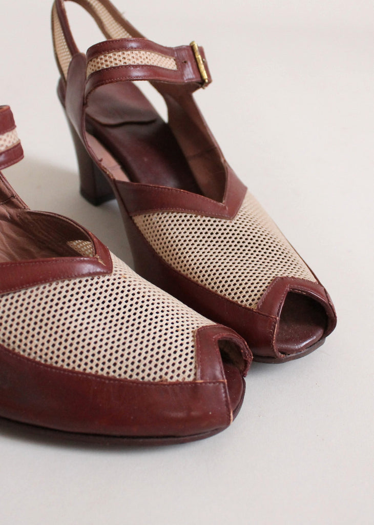 Vintage Late 1940s Two Tone Mesh Peep Toe Sandals