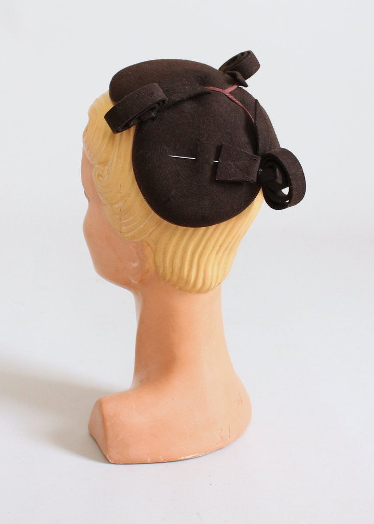 Vintage 1940s Brown Felt Circles and Curls Hat