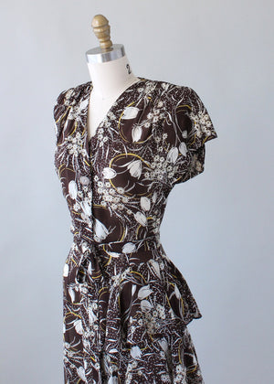 Vintage 1940s Brown Floral Rayon Ruffle Dress