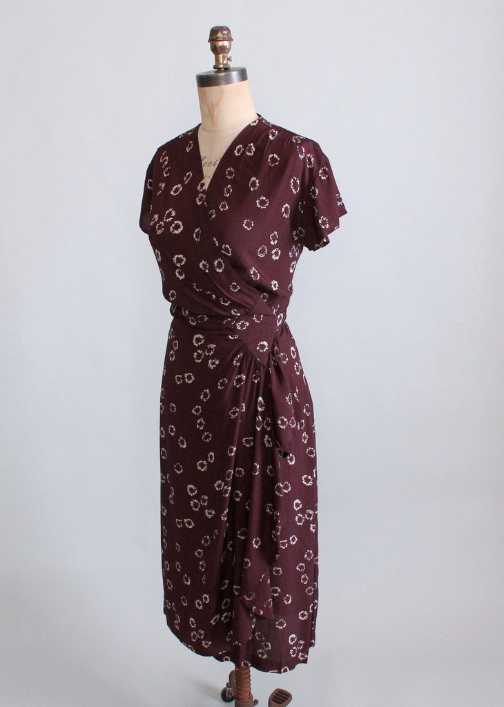 Vintage 1940s Brown Rayon Wrap Dress