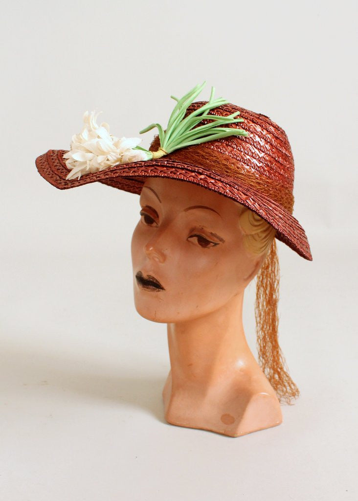 Vintage Early 1940s Bronze Straw Floral Hat