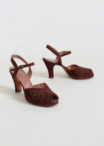 Vintage 1940s Cut Out Brown Suede Platform Sandals 7.5