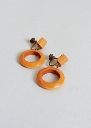 Vintage 1940s Butterscotch Bakelite Dangle Earrings