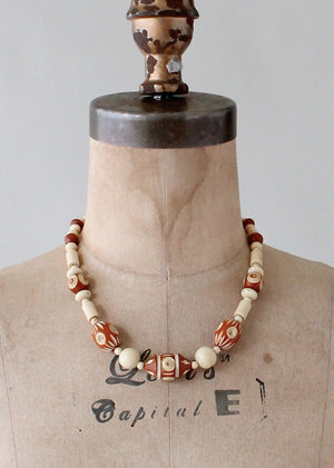 Vintage 1940s Brown and Tan Carved Celluloid Necklace