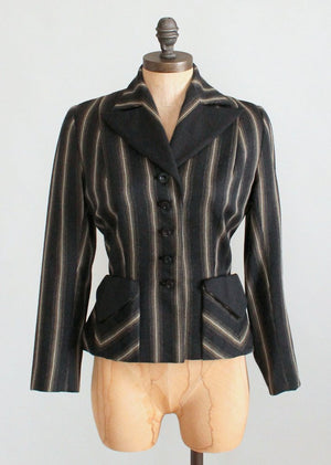 Vintage 1940s Charcoal Grey Striped Nipped Waist Jacket