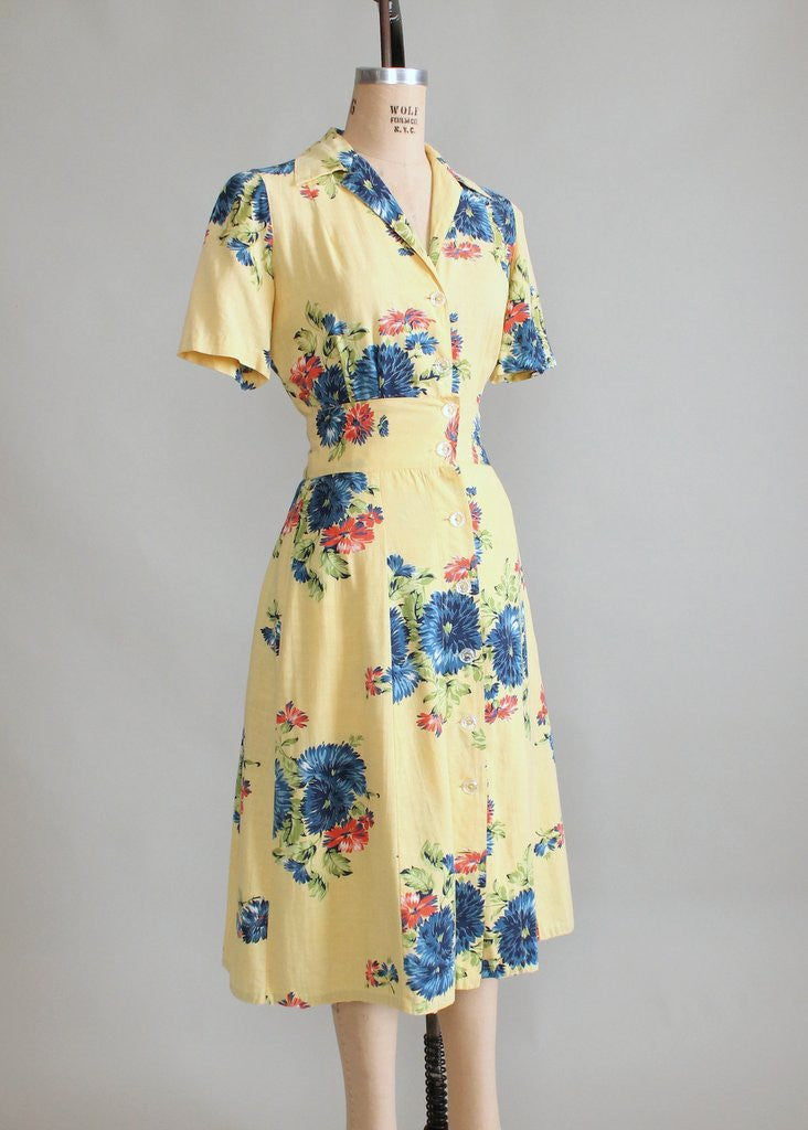 Vintage 1940s Blue Rose Playsuit with Skirt