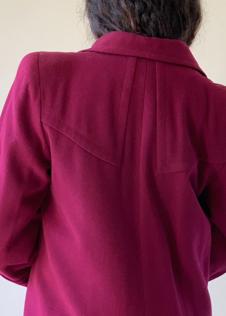 Vintage 1940s Cranberry Wool Winter Coat