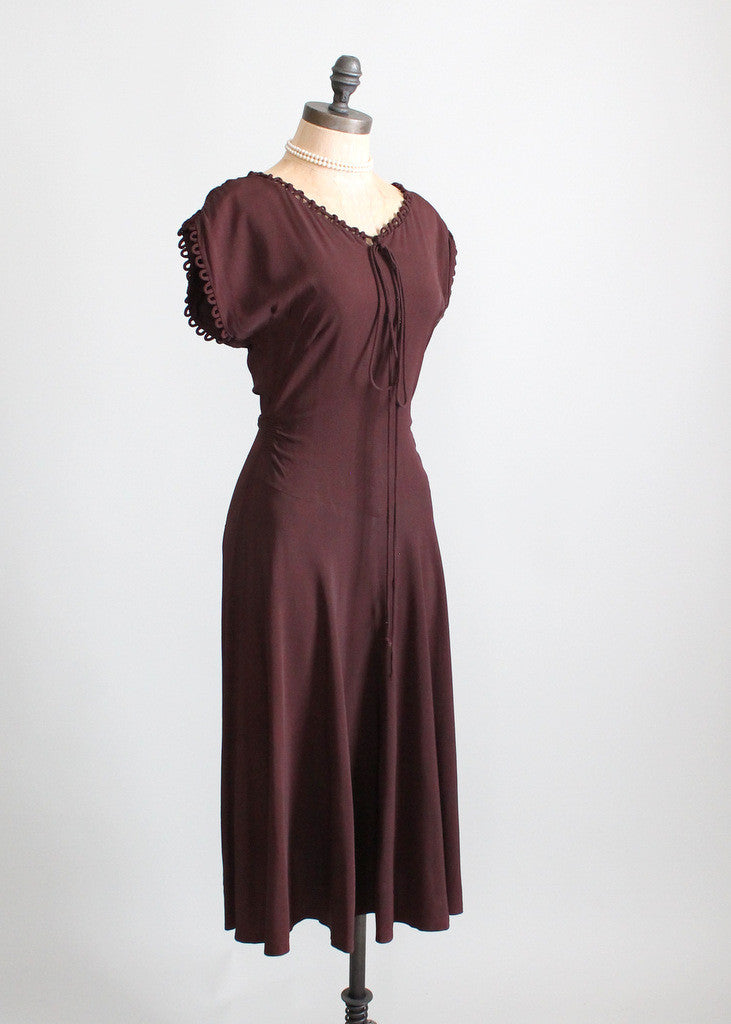 Vintage 1940s Crepe Swing Dress
