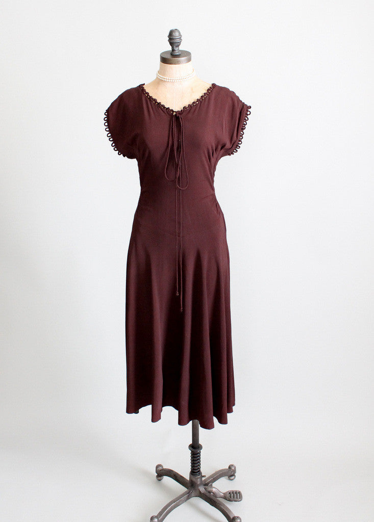 Vintage 1940s Brown Crepe Swing Dress