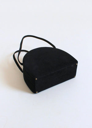 Vintage 1940s Embroidered Black Suede Box Purse