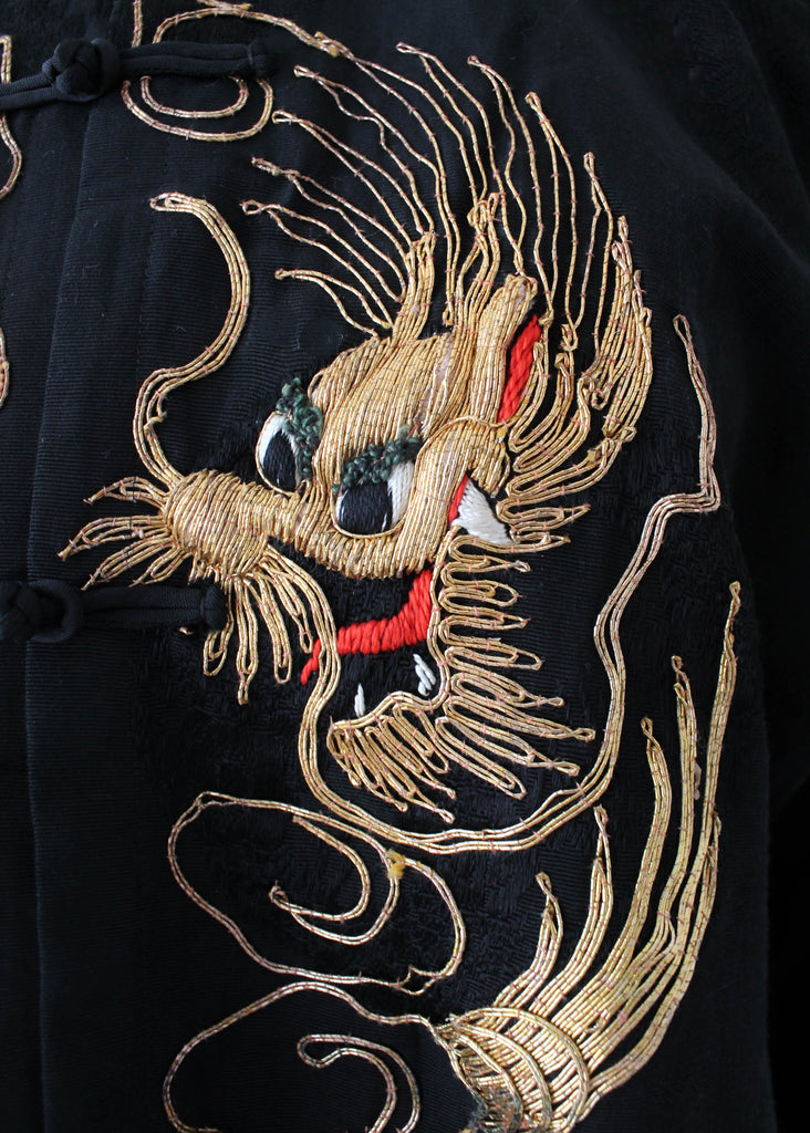 Vintage 1940s Embroidered Dragon Silk Pajama Set