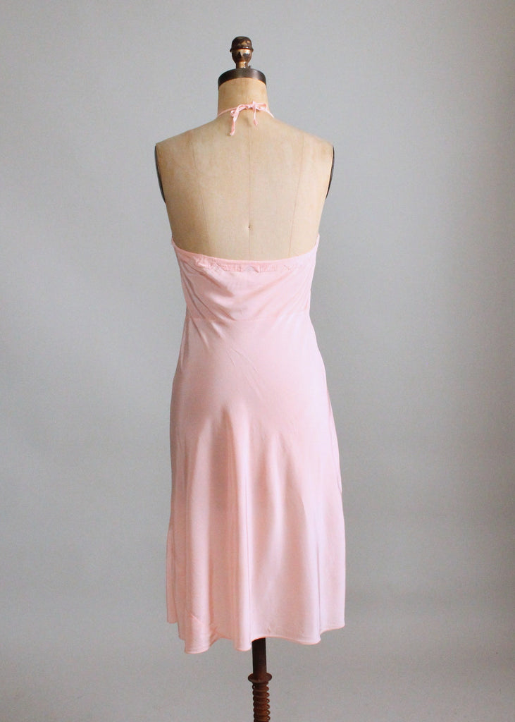 Vintage 1940s Embroidered Peach Rayon Halter Slip Dress