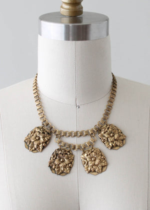 Vintage 1940s Floral Brass Pendant on Book Chain Necklace