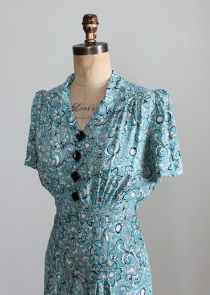 Vintage 1940s Blue and White Floral Print Rayon Day Dress