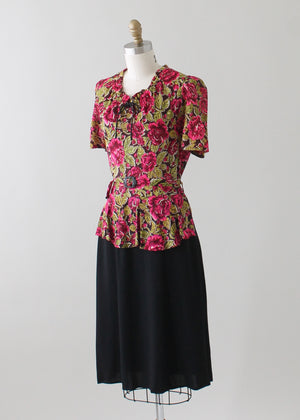 Vintage 1940s Floral Print Rayon Jersey Day Dress