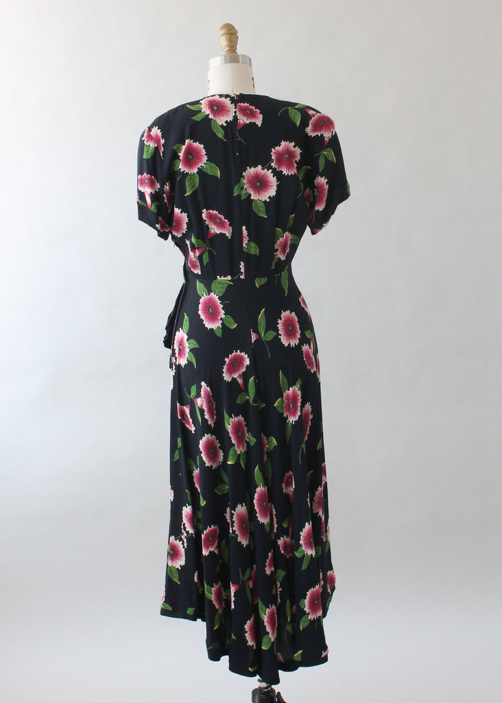 Vintage 1940s Floral Black Rayon Dress