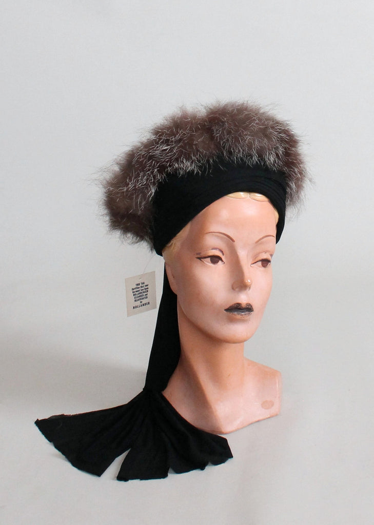 Vintage 1940s Fur Trimmed Turban Hat