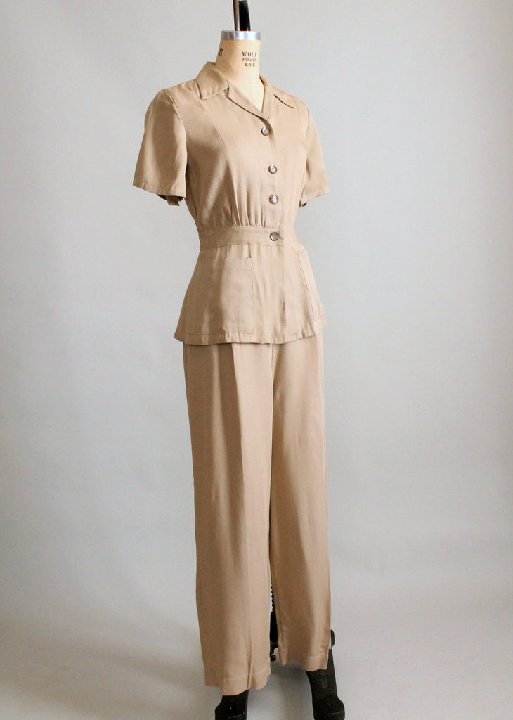 Vintage 1940s Military Inspired Gabardine Jacket and Pants Set