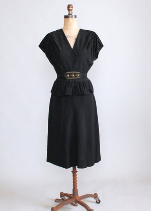 Vintage 1940s Gold Studded Black Crepe Swing Dress