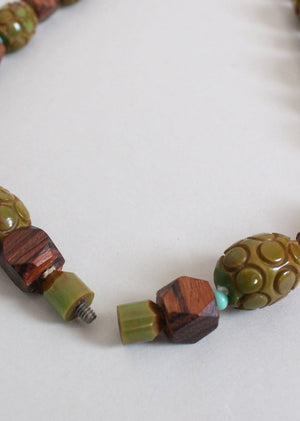 Vintage 1940s Chunky Green Bakelite and Wood Bead Necklace