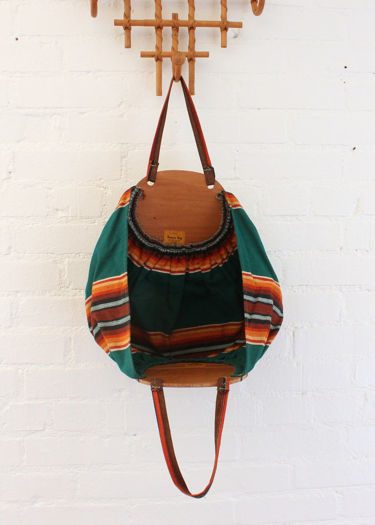 Vintage 1940s Striped Green Canvas and Wood Tote Bag
