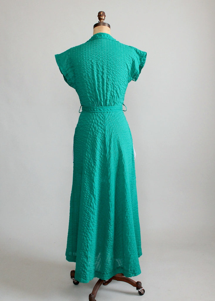 Vintage Early 1950s Green Cotton Lounging Robe