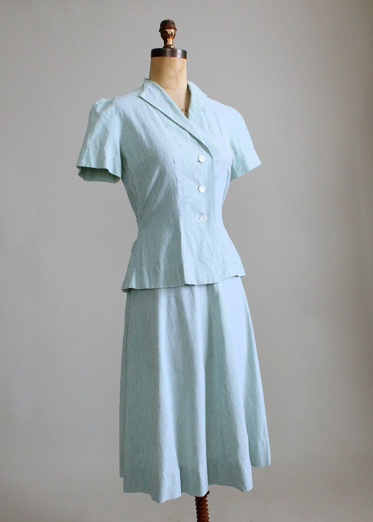 Vintage 1940s Green Seersucker Summer Suit