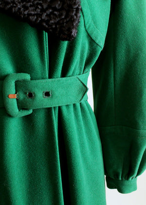 Vintage 1940s Green Wool and Black Curly Lamp Fur Coat