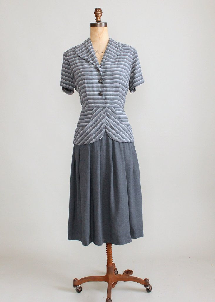 Vintage 1940s Grey Striped Suit Dress