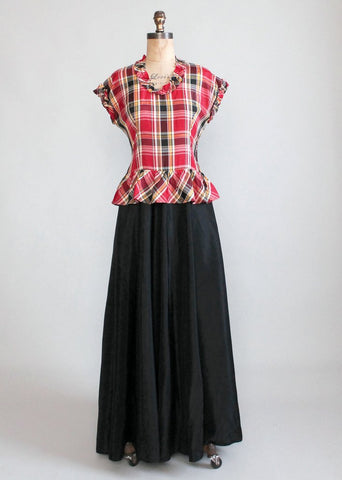 Vintage 1940s Plaid Taffeta Full Length Dance Dress