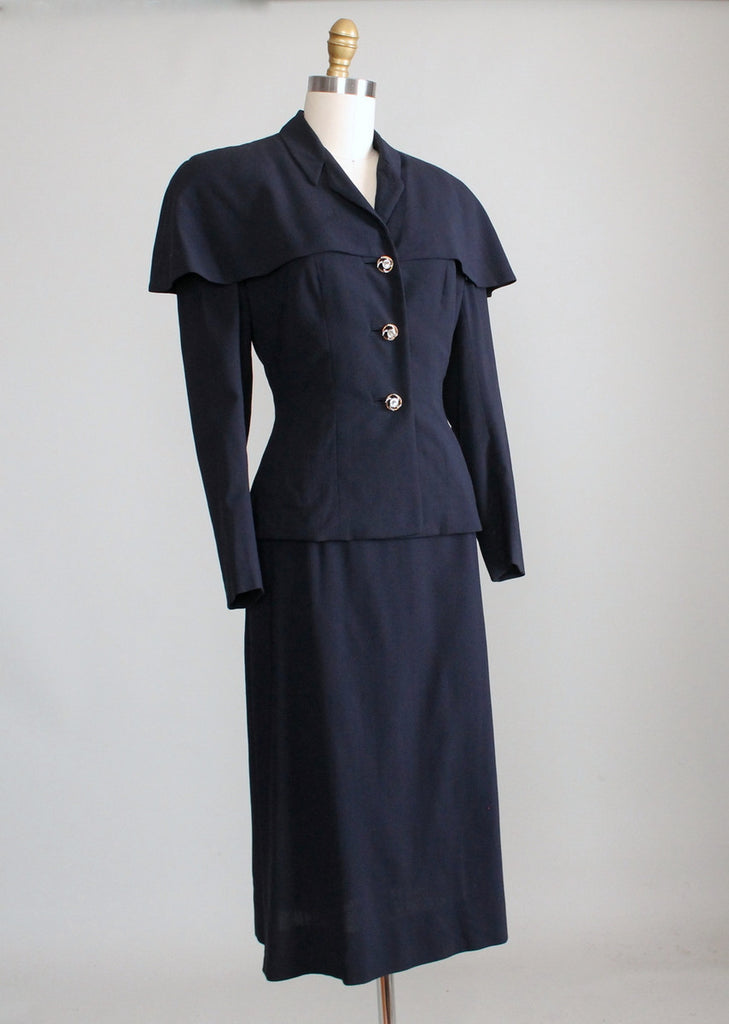 Vintage 1940s Navy Suit with Cape Shoulders