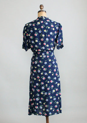 Vintage 1940s Floral Navy Rayon Slit Pocket Dress