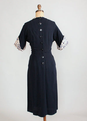 Vintage 1940s Navy Rayon Off the Cuff Day Dress