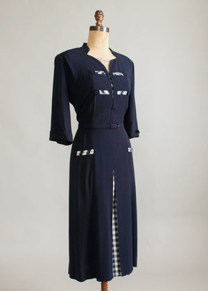 Vintage 1940s Sensibly Young Navy Rayon Day Dress