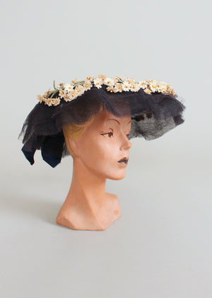 Vintage 1940s Navy Wide Brim Floral Wreath Hat