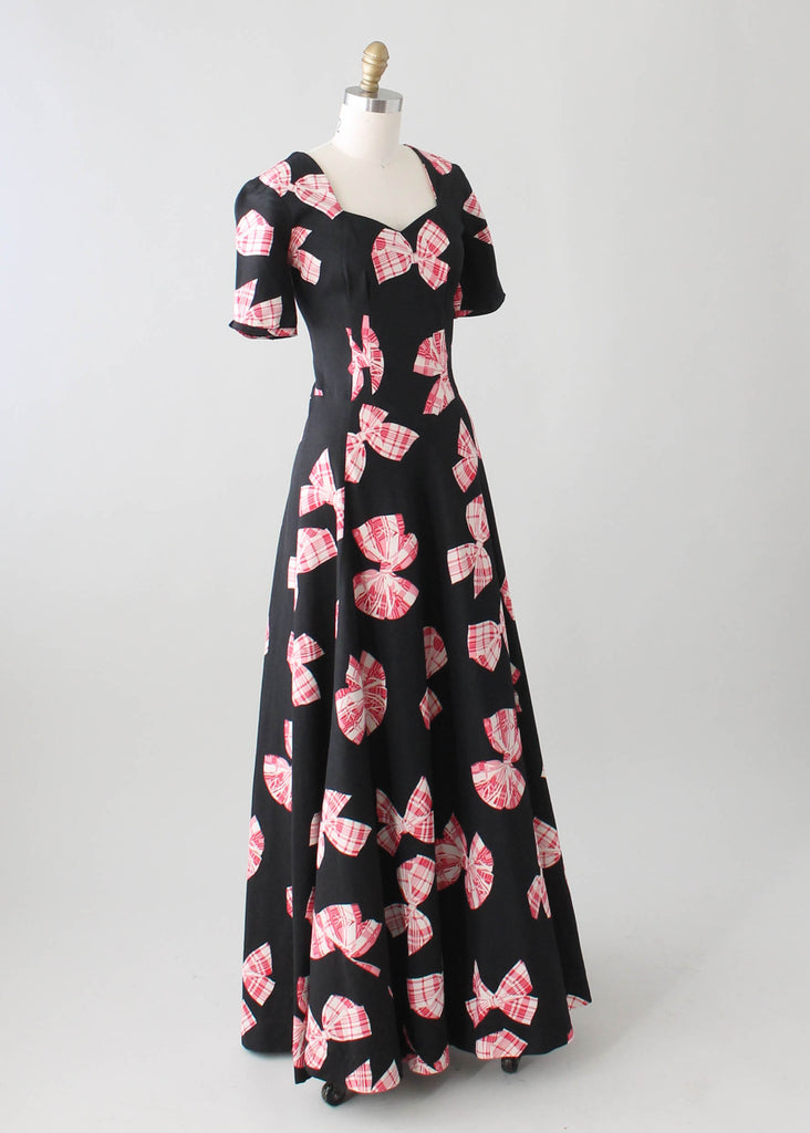 644c8987e4a 1940s Novelty Print Black Pique Cotton Maxi Dress