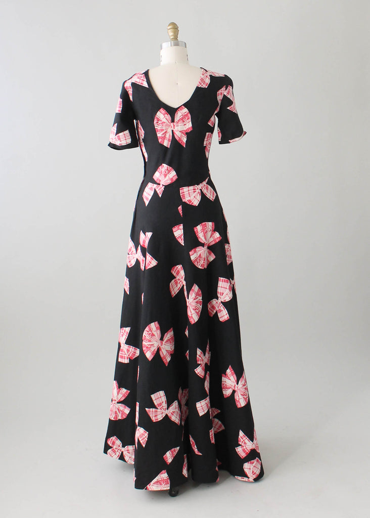 1940s Novelty Print Black Pique Cotton Maxi Dress