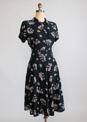 Vintage 1940s Dancing Girl Novelty Print Rayon Day Dress