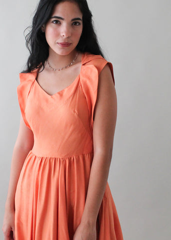 Vintage 1940s Tangerine Silk Dress