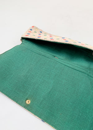 Vintage 1940s Fabric Clutch with Celluloid Rings