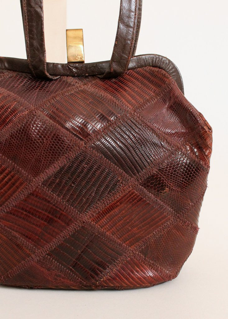 Vintage 1940s Patchwork Lizard Skin Purse