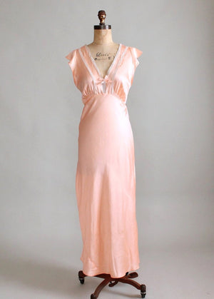 Vintage 1940s Peach Rayon and Lace Nightgown